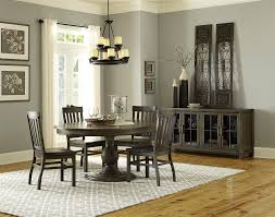 transitional weathered gray round dining table with butterfly