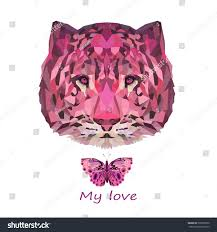 abstract pink tiger head butterfly vector stock vector 505539970
