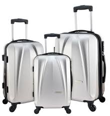 Sleek silver suitcase set designer luggage 3 pc set spinner 20 24