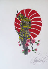 samurai tattoo design coloured with photoshop by valkahn on deviantart