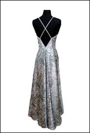 couture evening gown for a silver wedding anniversary party