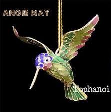 set of 6 cloisonné hummingbird enamel hanging bird