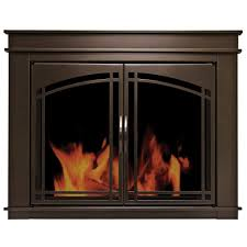 Glass Fire Doors by Pleasant Hearth Fenwick Large Glass Fireplace Doors Fn 5702 The