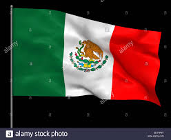 waving mexican flag isolated over black background stock photo