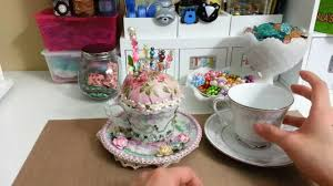 altered tea cup pin cushion youtube