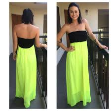 new neon green u0026 black strapless maxi dress size medium