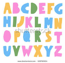 hand drawn alphabet geometric funny font stock vector 399418657