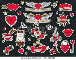 vector traditional tattoo valentines day flash stock vector