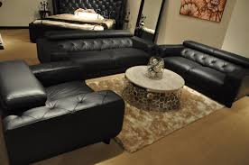 Leather Tufted Sofa by Nantes Black Italian Leather Tufted Sofa Set