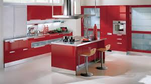 Kitchen Cabinet Layouts Design by Modern Kitchen Interior Layout Design With Red Paint Backsplash