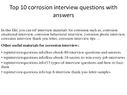 corrosion technician top 10 corrosion interview questions with answers