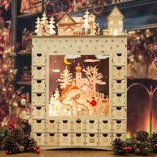 lighted santa s workshop advent calendar magical elven made light up wooden advent calendar 52cm santa