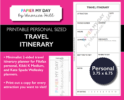 trip planner template filofax travel itinerary printable travel journal for zoom