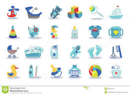 newborn baby boy icons set baby shower kit stock vector image