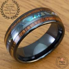 black opal mens ring black hi tech ceramic ring with abalone pau u0027a shell and hawaiian