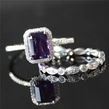 Amethyst Wedding Rings by Two Rings Bridal Set 6x8mm Emerald Cut Amethyst Ring Diamond Halo