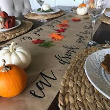 calligraphy thanksgiving table runner lettered kraft with