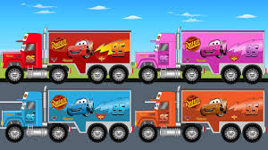 lightning mcqueen monster truck videos learn colors with disney lightning mcqueen big truck kids video