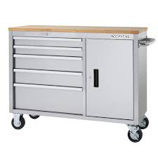 stainless steel workbench cabinets husky 46 in 5 drawer and 1 door stainless steel mobile workbench