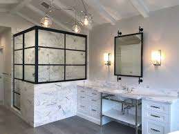 custom vanity mirror in the bathroom gun metal steel finish with