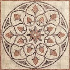 travertine la flora 48 in x 48 in tumbled medallion