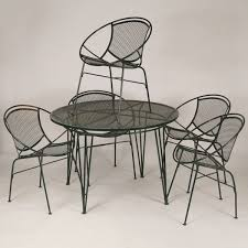 mid century modern mcm wire mesh patio dinette set five circular