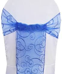 royal blue chair sashes royal blue embroidered swirl organza chair sashes