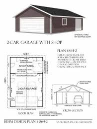 shop buildings plans two car garage with rear bay shop plan 864 2 24 x 36 by behm