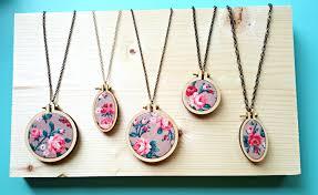 necklace flower handmade images Floral embroidery hoop necklace handmade necklace flower jpg