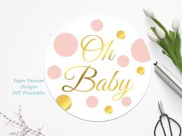 gold and pink cupcake topper baby shower decor polka dot