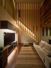 Living Room With Stairs by Romantic Stairs Concept With Single Handle And Led Light Under It