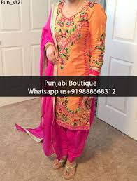 Pink Colour Combination Dresses by Adorable Orange And Magenta Embroidered Punjabi Suit Product Code