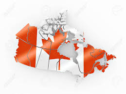Map Of Canada Map Of Canada In Canadian Flag Colors 3d Stock Photo Picture And