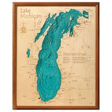 Wisconsin Lakes Map by Lake Topography Art Hand Crafted Lake Map Topography Art