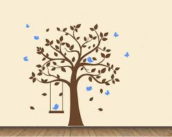 with birds and swing wall decal
