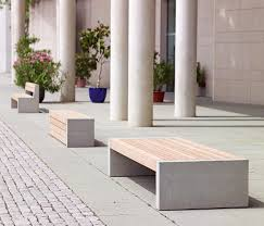 versio juno bench with slats large concrete feet light grey