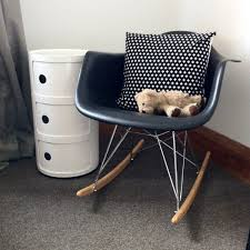 eames style rar molded black plastic rocking chair with steel