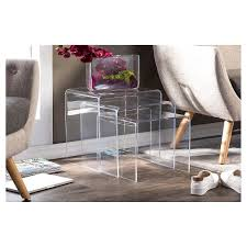 acrylic nesting tables target 3 piece acrylic nesting table set display stands baxton studio