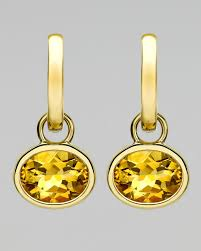 18k gold earrings lyst mcdonough 18k gold eternal citrine drop earrings in yellow
