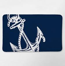 Navy Bath Mat Nautical Bath Rug Nautical Bathroom Navy Blue Anchor Bath