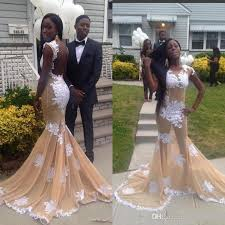 2017 prom dress for black women mermaid champagne evening