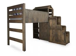 Fort Bunk Bed Country Youth Fort Bed With Staircase Chest In Driftwood Mathis