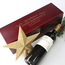 Wine Gift Boxes Corporate Christmas Engraved Wooden Stained Wine Gift Box Set L