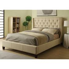 Headboard King Bed King Tan Color Upholstered Bed With Wingback Button Tufted