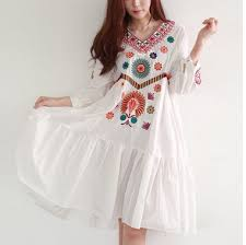 white boho vintage style hand embroidered tunic mexican dress