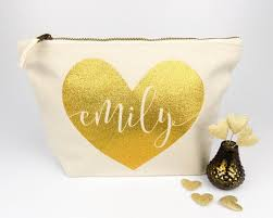 bridal party makeup bags personalised heart name make up bag unique wedding gift for