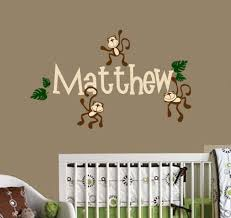 similiar wall decal with name and monkey keywords monkey nursery decor photograph monkeys hanging with name