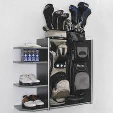 Garage Golf Bag Organizer - metal golf bag organizer stores two bags and standard golf