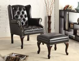 chairs black leather tufted accent chair with ottoman set