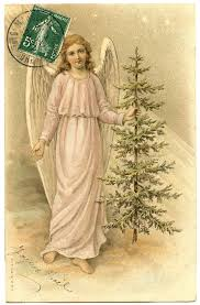 vintage image lovely french angel with tree the graphics fairy